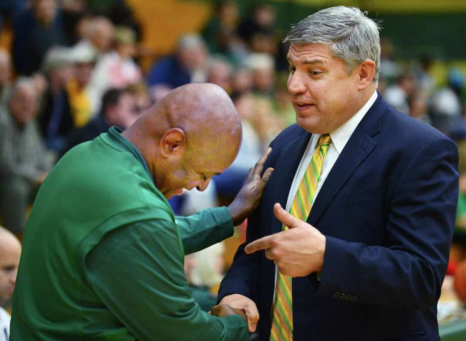 Former Siena star, now head coach for New Jersey City University, Marc Brown, left, and Siena head coach Jimmy Patsos before the start of an exhibition game at Siena's Alumni Recreation Center Saturday Nov. 2, 2013,in Colonie, NY.   (John Carl D'Annibale / Times Union) Photo: John Carl D'Annibale / 00024475A