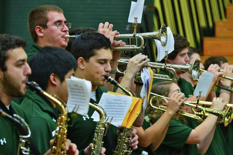 Siena's pep band performs during an exhibition game at Siena's Alumni Recreation Center against New