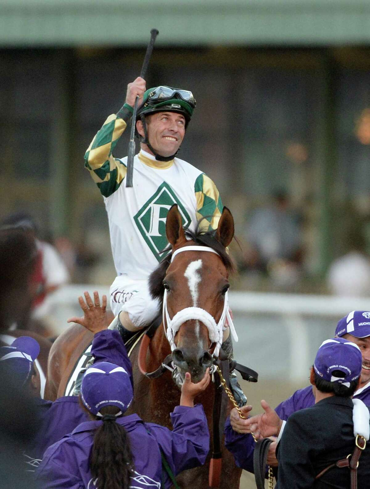 Gary Stevens is all smiles aboard Mucho Macho Man after winning the 30th running of The Breeders' Cup Classic Nov. 2, 2013 at Santa Anita Park in Arcadia, California. (Skip Dickstein/Times Union