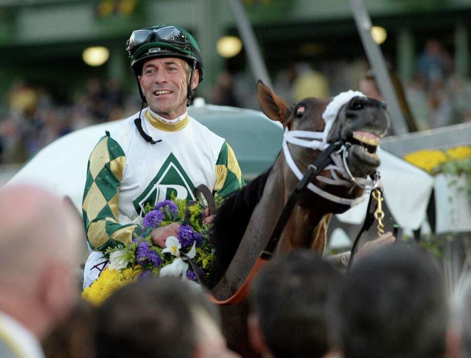 Gary Stevens is all smiles aboard Mucho Macho Man after winning the 30th running of The Breeders' Cup Classic  Nov. 2, 2013 at Santa Anita Park in Arcadia, California.   (Skip Dickstein/Times Union Photo: SKIP DICKSTEIN