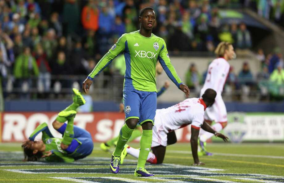 Seattle Sounders player Eddie Johnson reacts to a missed goal attempt against the Portland Timbers during an MLS playoff match between the two Pacific Northwest rivals. The Sounders fell to the Timbers 2-1. Photo: JOSHUA TRUJILLO, SEATTLEPI.COM / SEATTLEPI.COM