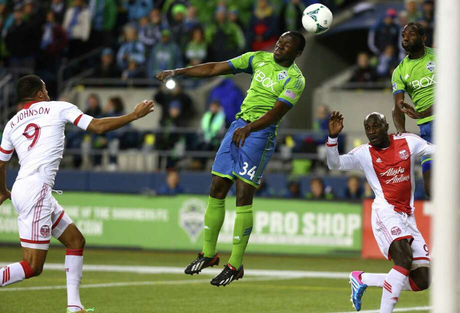 Seattle Sounders player Jhon Kennedy Hurtado heads the ball during play the Portland Timbers. The Sounders fell to the Timbers 2-1. Photographed on Saturday, November 2, 2013. Photo: JOSHUA TRUJILLO, SEATTLEPI.COM / SEATTLEPI.COM