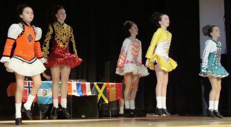 Students from Lenihan School of Irish Dance performed at McKinley School's 7th annual World's Fair on Saturday, featuring exhibits and demonstrations representing 22 nations. Photo: Meg Barone / Fairfield Citizen contributed