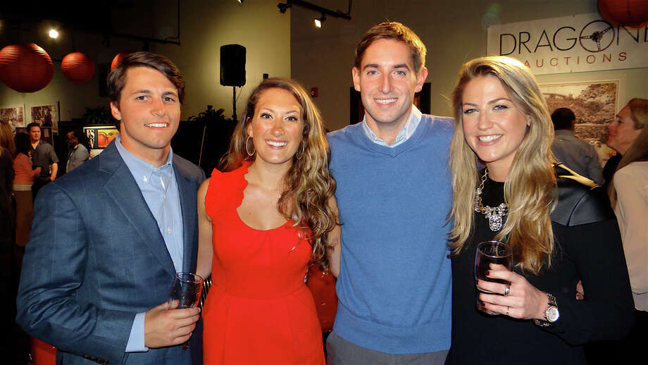 Darren Scheufele and Sarah Fagan of Weston, with Rob Assuncao, of Colts Neck, N.J., and Kendall Bennewitz, of Weston at FSW's Brewfest fundraiser held Saturday at Dragone Classic Motor Cars. Photo: Mike Lauterborn / Westport News contributed
