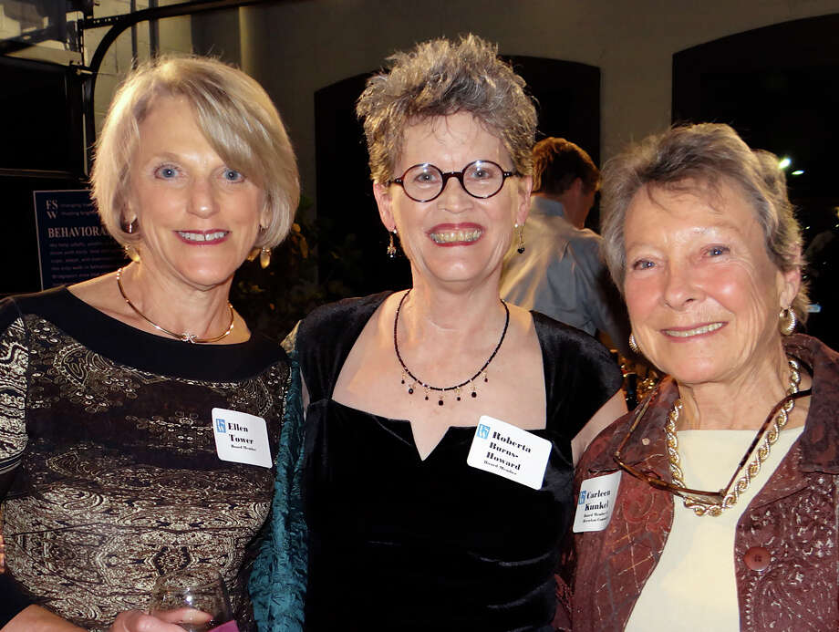 FSW board members Ellen Tower, Roberta Burns-Howard and Carleen Kunkel at FSW's Brewfest fundraiser on Saturday. Photo: Mike Lauterborn / Westport News contributed