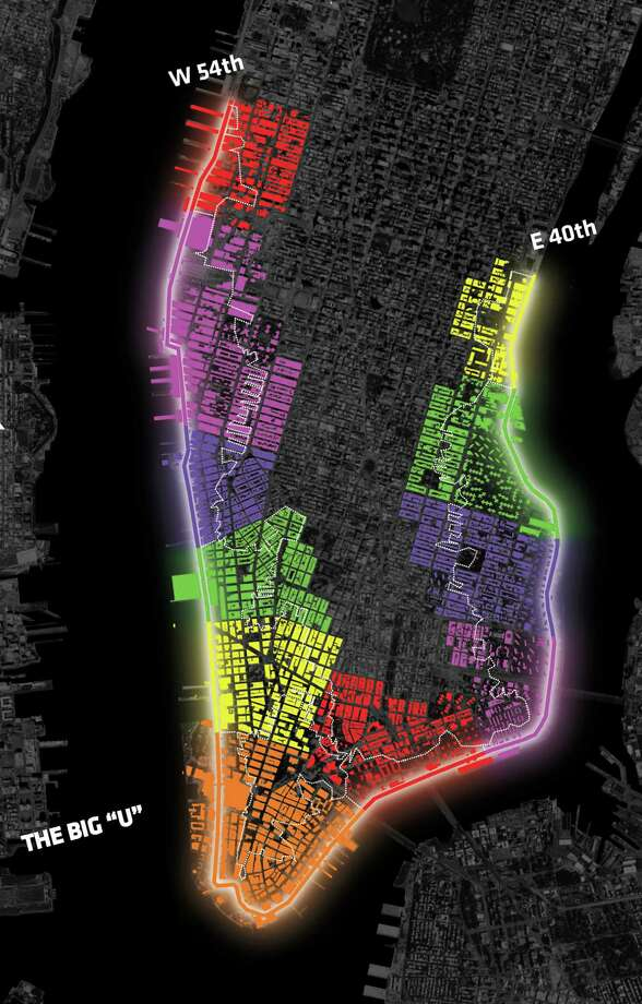 "This undated artist rendering provided by Rebuild by Design shows the plan for ""THE BIG 'U'"", an 8-mile system of flood protections around the southern tip of Manhattan, proposed by a coalition of designers led by the Bjarke Ingels Group. Details of the barriers would change from neighborhood to neighborhood, and the aim would be to make them look like public art installations or natural pieces of waterfront parkland. The big ""U"" is one of 41 projects ten teams of global experts participating in a federally funded design competition say could help protect the New York and New Jersey coastlines from the type of flooding seen a year ago during Superstorm Sandy. Photo: Uncredited, AP / AP2013"