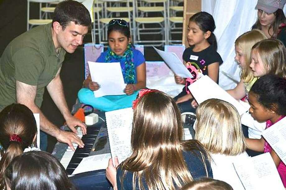 "Composer Nobile Kampler and ""K.C.@Bat"" cast rehearse songs from the show. Photo: Contributed, Boys & Girls Club Of Greenwich / Greenwich Time"