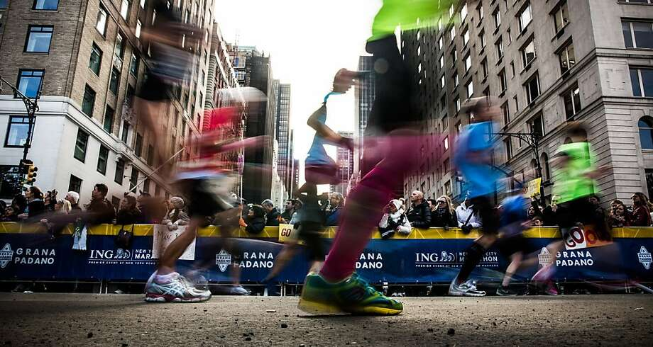A record number of entrants started the first N.Y. Marathon in two years. Photo: Andrew Burton, Getty Images