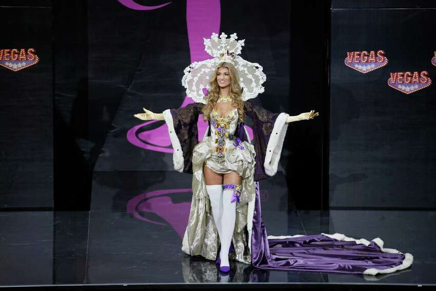 Miss Great Britain Amy Willerton presents her outfit during the national costume show at the 2013 Miss Universe pageant in Moscow, Russia, on Sunday, Nov. 3, 2013.