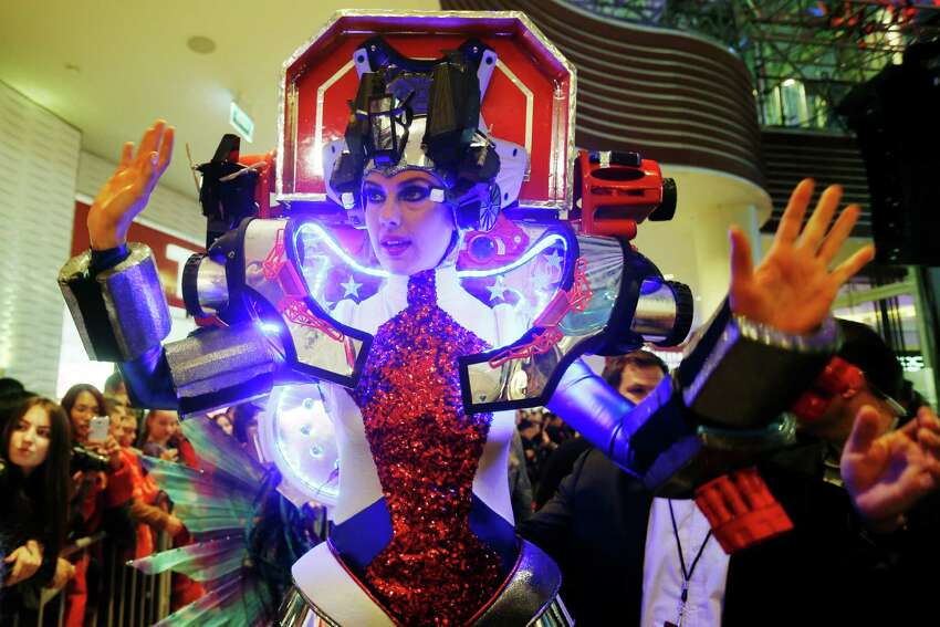 Erin Brady from USA after the national costume show at the 2013 Miss Universe pageant in Moscow, Russia, on Sunday, Nov. 3, 2013.