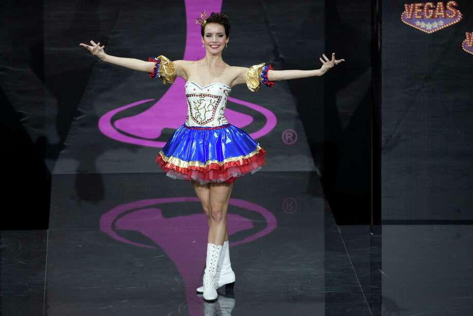 Miss Czech Republic Gabriela Kratochvílová presents her outfit, during the national costume show at the 2013 Miss Universe pageant in Moscow, Russia, on Sunday, Nov. 3, 2013. Photo: Pavel Golovkin, Associated Press / AP