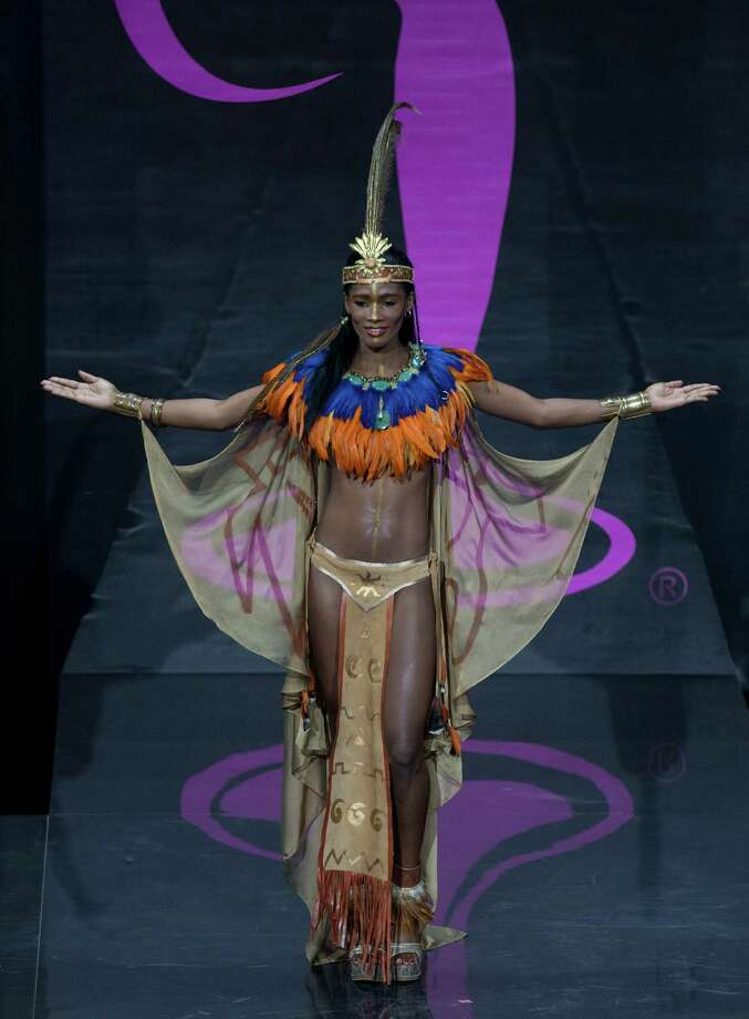 Miss Haiti Mondiana J'hanne Pierre presents her outfit, during the national costume show at the 2013 Miss Universe pageant in Moscow, Russia, on Sunday, Nov. 3, 2013. Photo: Pavel Golovkin, Associated Press / AP