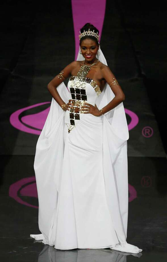 Miss Israel Titi Yitayish Ayanaw presents her outfit, during the national costume show at the 2013 Miss Universe pageant in Moscow, Russia, on Sunday, Nov. 3, 2013. Photo: Pavel Golovkin, Associated Press / AP
