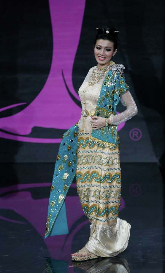 Miss Myanmar Moe Set Wine presents her outfit, during the national costume show at the 2013 Miss Universe pageant in Moscow, Russia, on Sunday, Nov. 3, 2013. Photo: Pavel Golovkin, Associated Press / AP