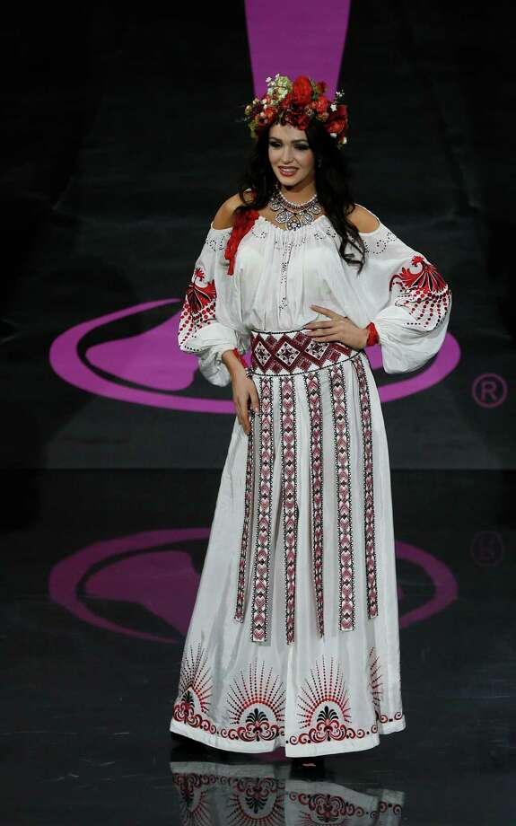 Miss Ukraine Olga Storozhenko  presents her outfit, during the national costume show at the 2013 Miss Universe pageant in Moscow, Russia, on Sunday, Nov. 3, 2013. Photo: Pavel Golovkin, Associated Press / AP