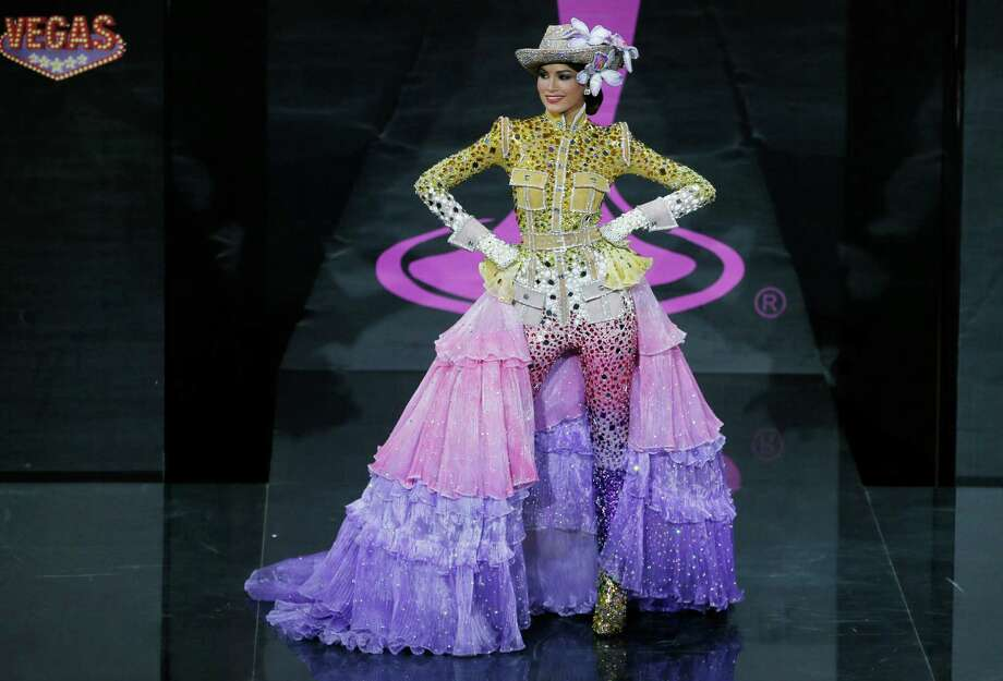 Miss Venezuela Gabriela Isler presents her outfit, during the national costume show at the 2013 Miss Universe pageant in Moscow, Russia, on Sunday, Nov. 3, 2013. Photo: Pavel Golovkin, Associated Press / AP