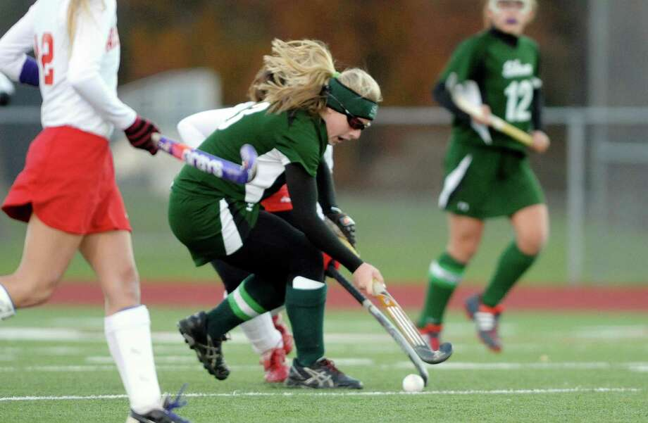 Erin Buckley of Shenendehowa tries to get the ball past a Niskayuna player during the Section II Class A field hockey final at Schuylerville High School on Sunday, Nov. 3, 2013 in Schuylerville, NY.  (Paul Buckowski / Times Union) Photo: Paul Buckowski
