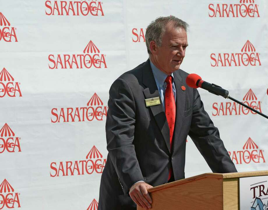 Christopher Kay speaks about the Travers Stakes in the paddock of the Saratoga Race Course Aug 21, 2013 in Saratoga Springs, N.Y. during the post position draw in which  Verrazano was named the morning line favorite to win the Travers Stakes which will run on Saturday at Saratoga.  (Skip Dickstein/Times Union) Photo: SKIP DICKSTEIN