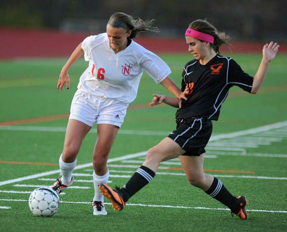 Niskayuna'a Marika Contompasis battles for the ball with Bethlehem's Selin Gumustop during the Section II girls' soccer semifinal on Friday, Nov. 1, 2013 in Schuylerville, N.Y.  (Lori Van Buren / Times Union) Photo: Lori Van Buren / 00024466A