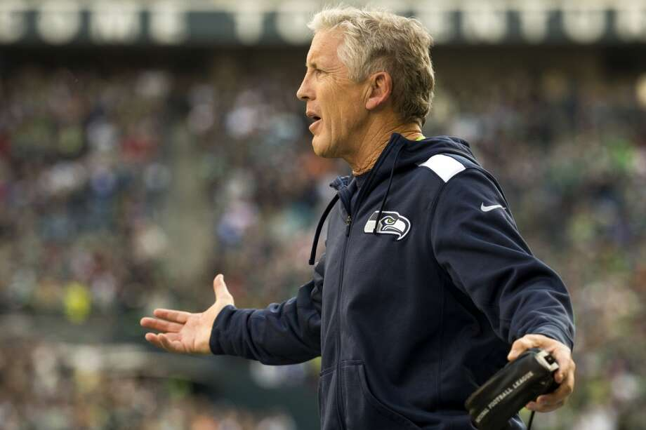 Seahawks' head coach Pete Carroll reacts to a call against his team Sunday, Nov. 3, 2013, at CenturyLink Field in Seattle. The Seahawks beat the Buccaneers 27-24 during overtime in the biggest comeback in franchise history. (Jordan Stead, seattlepi.com) Photo: JORDAN STEAD, SEATTLEPI.COM