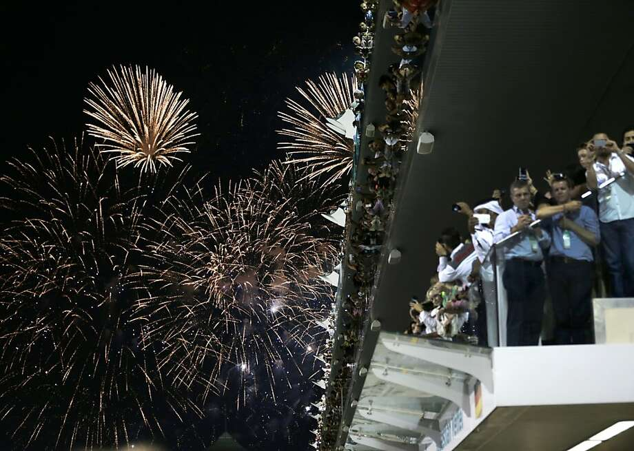 Fireworks explode over the Yas Marina racetrack after the Emirates Formula One Grand Prix in Abu Dhabi, United Arab Emirates, Sunday, Nov. 3, 2013. (AP Photo/Hassan Ammar) Photo: Hassan Ammar, Associated Press