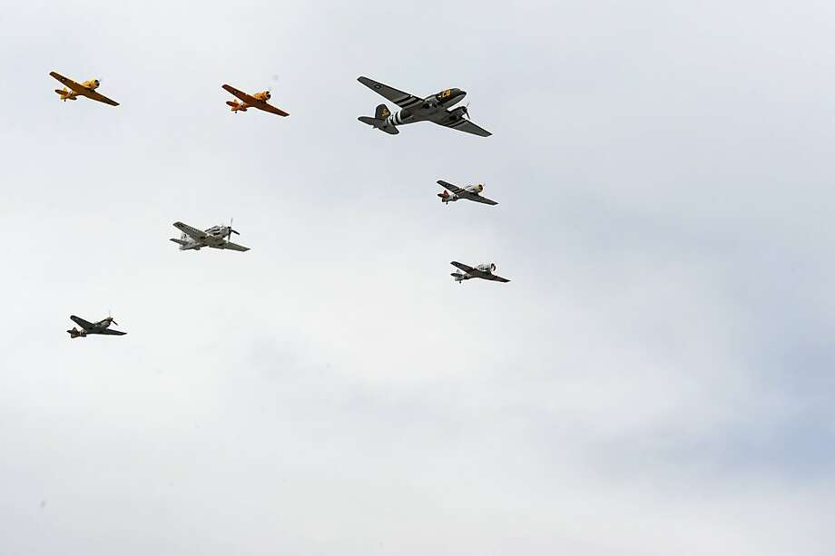 FORT WORTH, TX - NOVEMBER 03:  Planes from the Cavanaugh Flight Museum perform a flyover as part of pre-race ceremonies for the NASCAR Sprint Cup Series AAA Texas 500 at Texas Motor Speedway on November 3, 2013 in Fort Worth, Texas.  (Photo by Jared C. Tilton/Getty Images for Texas Motor Speedway) Photo: Jared C. Tilton, Getty Images For Texas Motor Spe
