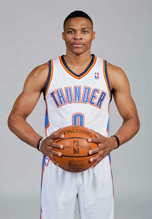 Oklahoma City Thunder's Russell Westbrook poses for a photo during Thunder Media Day in Oklahoma City on Friday, Sept. 27, 2013. (AP Photo/Alonzo Adams) Photo: Alonzo Adams, FRE / FR159426 AP