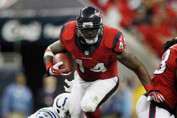 Salary-cap issues likely will keep the Texans from re-signing running back Ben Tate (44), who is in the last year of his contract and will be seeking a big raise.