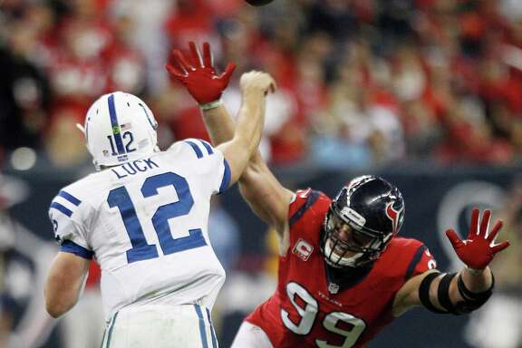 Colts QB Andrew Luck, who in two years has eight fourth-quarter comebacks to his credit, engineered two wins over the Texans and J.J. Watt (99) this season.