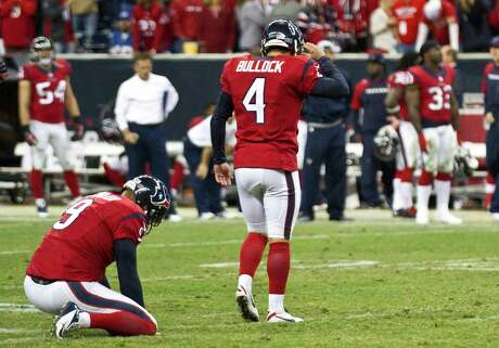 It was another rough night in a tumultuous season for Texans kicker Randy Bullock, who missed three field goals, including a 55-yarder that could have tied the game on the final play.