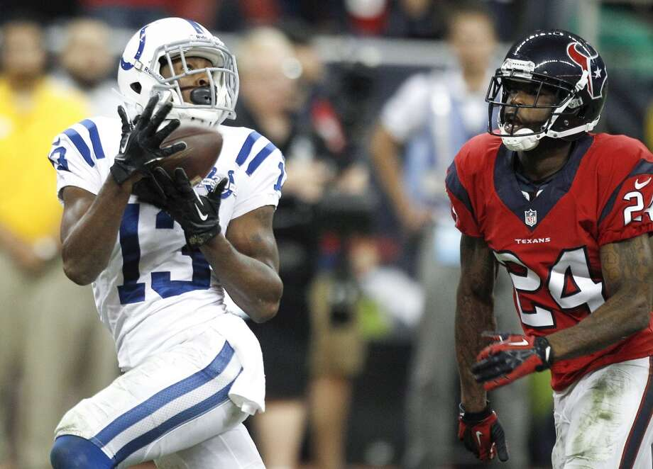Colts wide receiver T.Y. Hilton beats Texans cornerback Johnathan Joseph for a 58-yard touchdown reception during the fourth quarter. Photo: Brett Coomer, Houston Chronicle