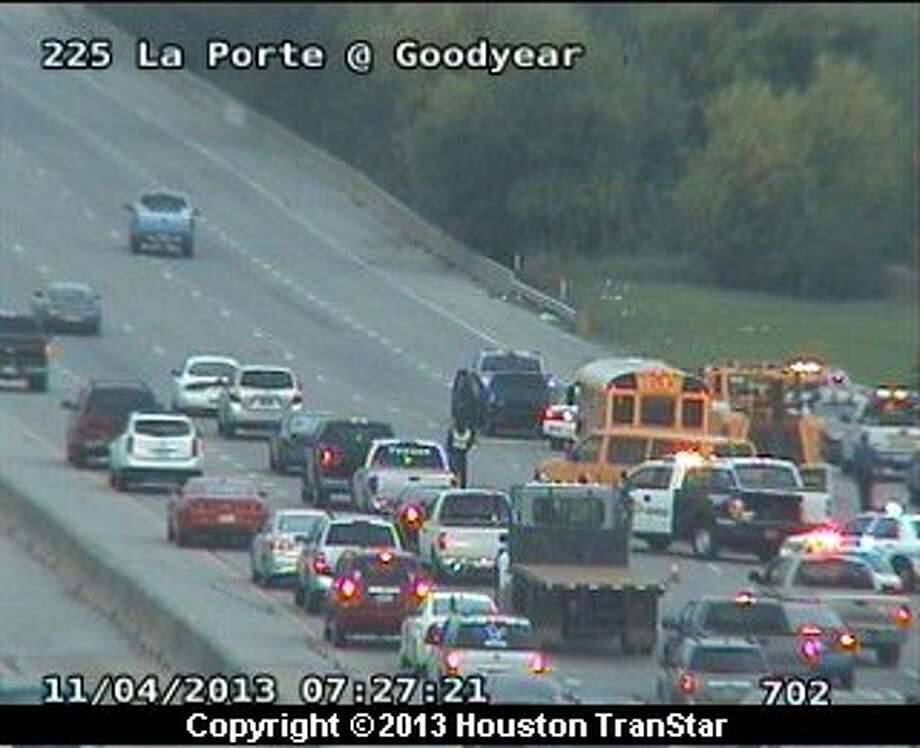 A school bus was involved in a crash on westbound Texas 225 near the East Loop early Monday morning, snarling traffic on the freeway. Photo: Houston Transtar