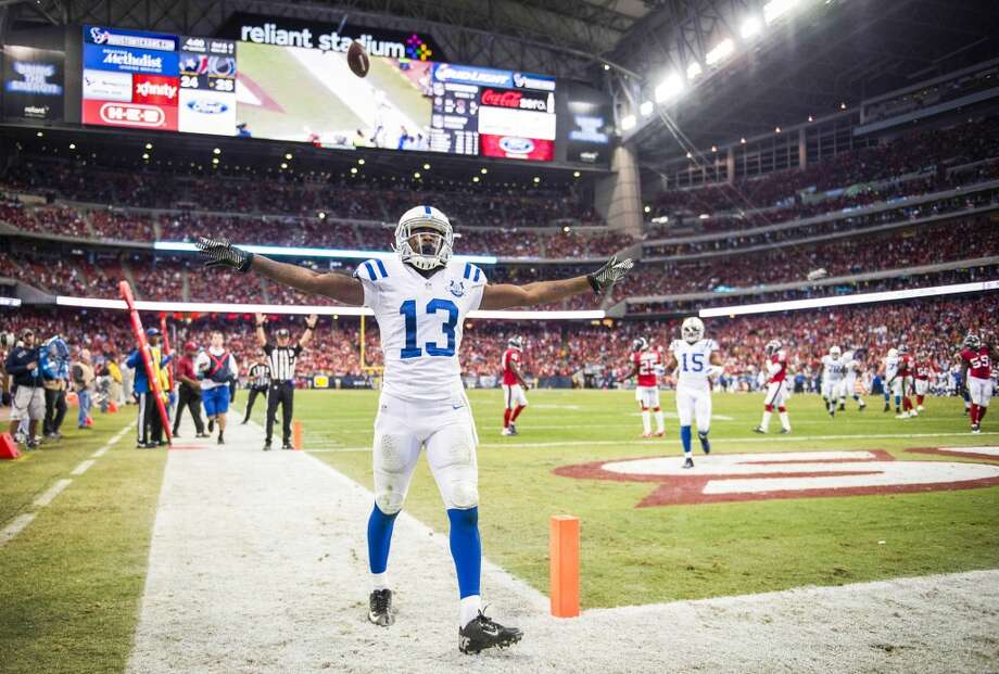 Colts wide receiver T.Y. Hilton celebrates after he scored on 9-yard touchdown pass. Photo: Smiley N. Pool, Houston Chronicle