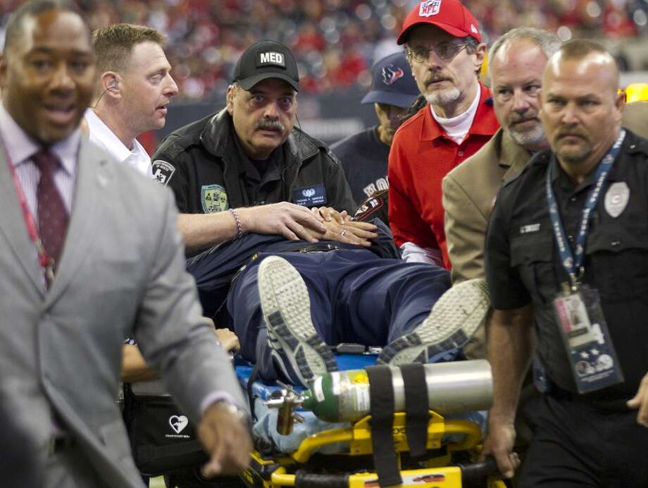 Houston Texans head coach Gary Kubiak leaves the field on a stretcher after he collapsed on the field at the end of the first half against the Indianapolis Colts  at Reliant Stadium on Sunday, Nov. 3, 2013, in Houston. ( Brett Coomer / Houston Chronicle ) Photo: Houston Chronicle