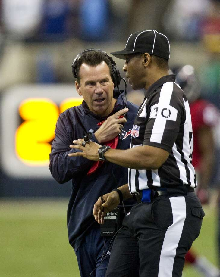Houston Texans head coach Gary Kubiak questions a call during the first half of an NFL football game at Reliant Stadium, Sunday, Nov. 3, 2013, in Houston. (Cody Duty / Houston Chronicle) Photo: Houston Chronicle