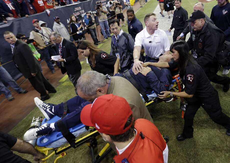 Houston Texans head coach Gary Kubiak is taken off the field on a stretcher during the second quarter of an NFL football game against the Indianapolis Colts, Sunday, Nov. 3, 2013, in Houston. (AP Photo/David J. Phillip) Photo: Associated Press