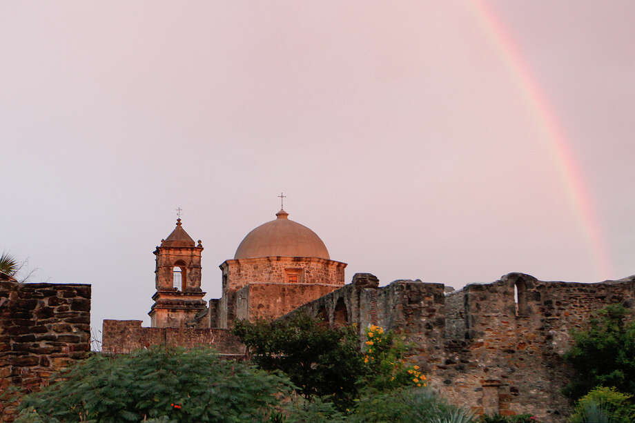 An early morning rainbow at Mission San Jose on Monday, Nov. 4, 2013. Share your weather photos on mySA.com Photo: MARVIN PFEIFFER, Marvin Pfeiffer / Prime Time New / Prime Time Newspapers 2013