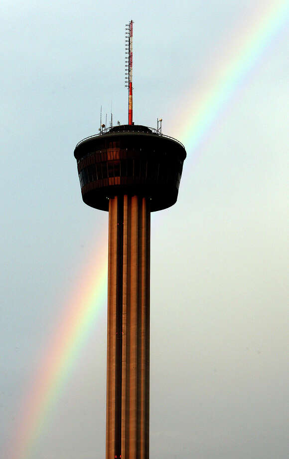 A rainbow is pictured behind the Tower of the Americas after storms moved through the area Monday July 6, 2009. Photo: EDWARD A. ORNELAS, SAN ANTONIO EXPRESS-NEWS / eaornelas@express-news.net