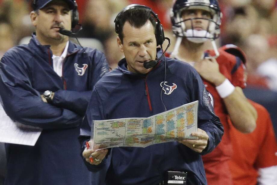 Houston Texans head coach Gary Kubiak works on the sideline during the second quarter of an NFL football game against the Indianapolis Colts, Sunday, Nov. 3, 2013, in Houston. (AP Photo/Patric Schneider) Photo: Associated Press