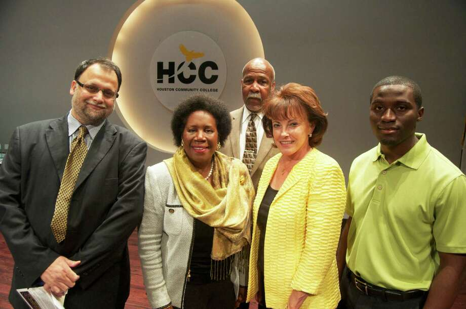 Rep. Sheila Jackson Lee, center, is joined by, from left, Syed Hashimi, of Global Energy Avenue Holdings; and Alex Prince, Maya Durnova, and Wisdom Muofhe, all of Houston Community College Southwest. Photo: Houston Community College Southwest Photo