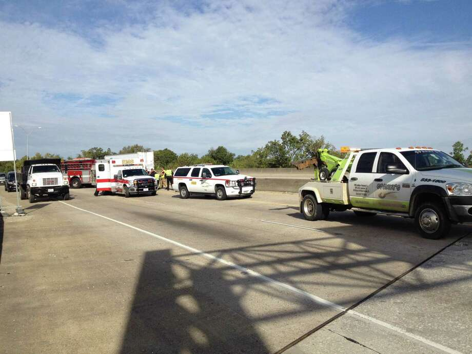 A man wrecked his motorcycle while traveling east on Interstate 10 Monday morning. Photo: Brooke Crum