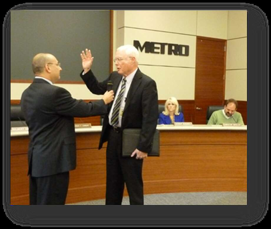 Jim Robinson was sworn in as a board member of Metropolitan Transit Authority of Harris County during its Oct. 28 meeting. Photo: Courtesy Of Metropolitan Transit Authority Of Harris County