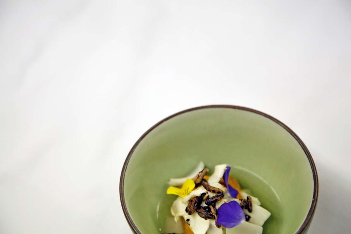 Local urchin with lily bulbs, kombu and wild rice at Madrona Manor Restaurant.