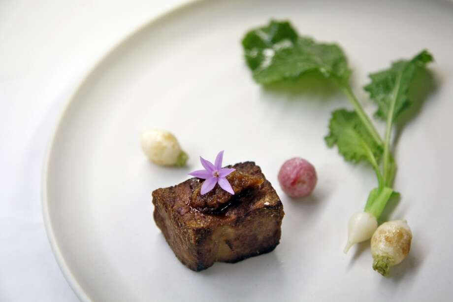 Japanese Wagyu with turnips at Madrona Manor Restaurant in Healdsburg. Photo: Preston Gannaway, Special To The Chronicle