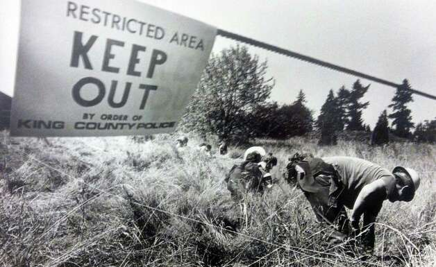 Members of an Explorer Search & Rescue unit comb a field north of Seattle-Tacoma International Airport. Photo filed Aug. 13, 1983. (Copyright MOHAI, Seattle Post-Intelligencer Collection, 2000.107) Photo: MOHAI Archive