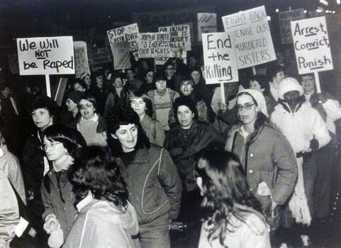Women gather in Seattle to demand action to stop the Green River killings. Photo filed April 22, 1984. (Copyright MOHAI, Seattle Post-Intelligencer Collection, 2000.107) Photo: MOHAI Archive