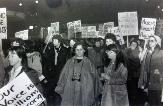 Women in Seattle gather to demand action in the Green River killings. Photo filed March 16, 1984. (Photo by Grant M. Haller, copyright MOHAI, Seattle Post-Intelligencer Collection, 2000.107) Photo: MOHAI Archive