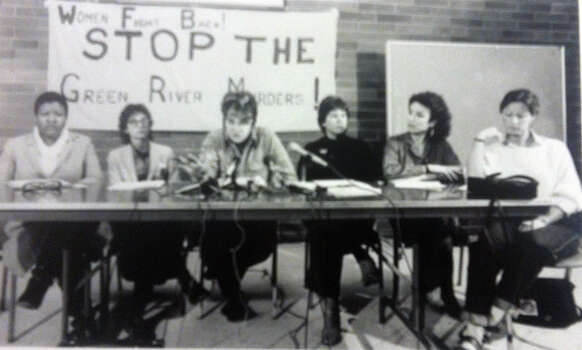 Melissa Adams of the Womens' Coalition to Stop the Green River Murders and others speak during a press conferenece. Photo filed March 1984. (Copyright MOHAI, Seattle Post-Intelligencer Collection, 2000.107) Photo: MOHAI Archive