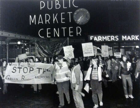 Women protesting what they see as a lack of sufficient public concern over the Green River murders leave the Pike Place Market on a a march to the King County Courthouse. About 400 woman participated. Photo filed March 17, 1984. (Photo by Grant Haller, copyright MOHAI, Seattle Post-Intelligencer Collection, 2000.107) Photo: BY GRANT HALLER, MOHAI Archive