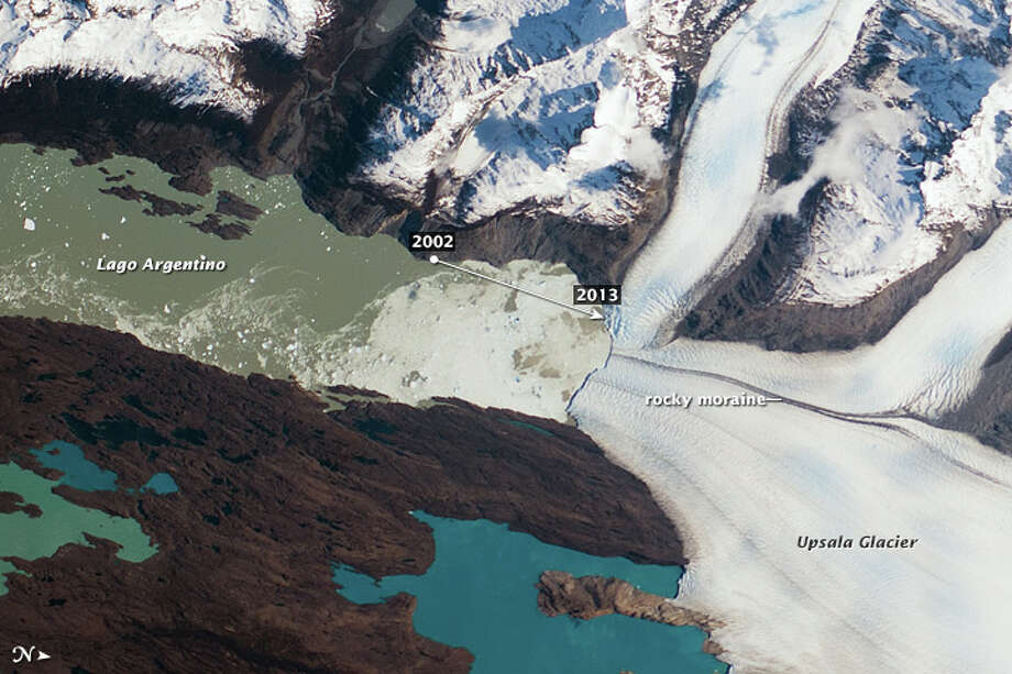 Same image but with dates showing the glacier's retreat. Photo: NASA